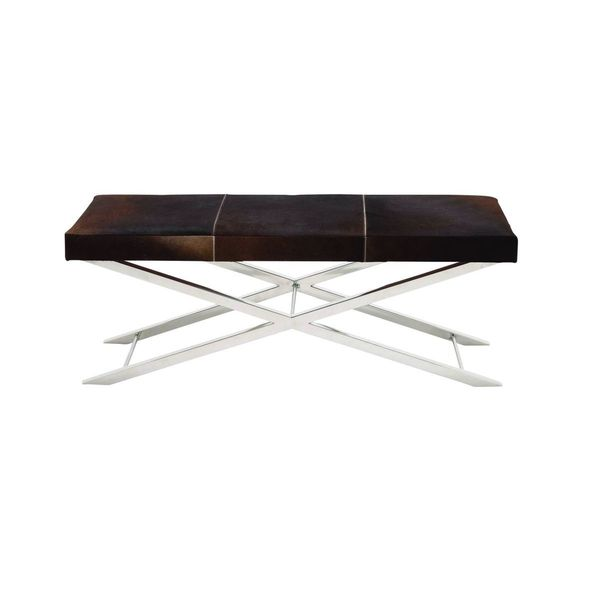 Stainless Steel Brown Leather Hide Bench