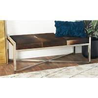 Stainless Steel Two-tone Brown Leather Hide Bench