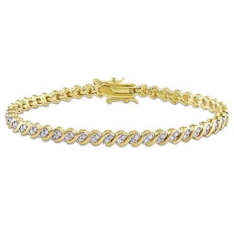 Miadora Yellow Plated Sterling Silver 1ct TDW Diamond Link Tennis Bracelet - White