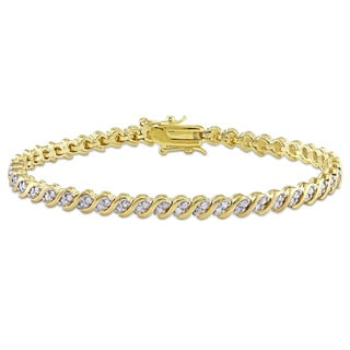 Miadora Yellow Plated Sterling Silver 1ct TDW Diamond S Link Tennis Bracelet (H-I, I2- I3)