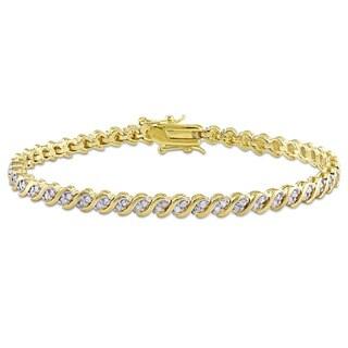 Miadora Yellow Plated Sterling Silver 1ct TDW Diamond Link Tennis Bracelet