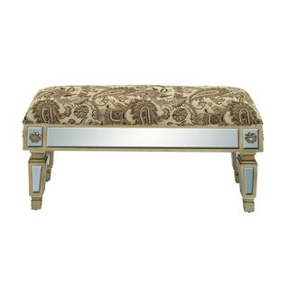 Wood Mirrored Paisley Fabric Bench