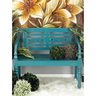 Distressed Teal Blue Mahogany Wood Bench