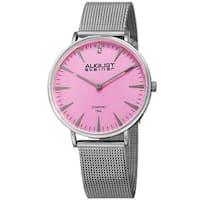 August Steiner Women's Quartz Diamond Stainless Steel Silver-Tone Bracelet Watch