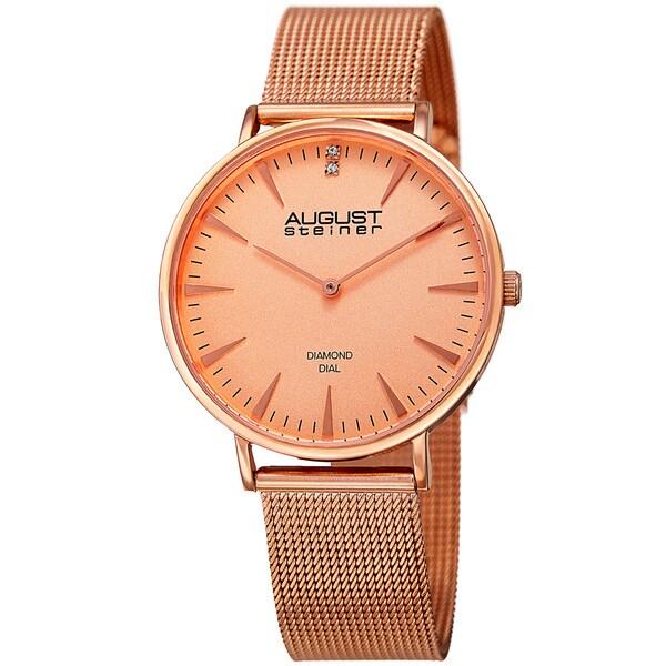 August Steiner Women's Quartz Diamond Stainless Steel Rose-Tone Bracelet Watch