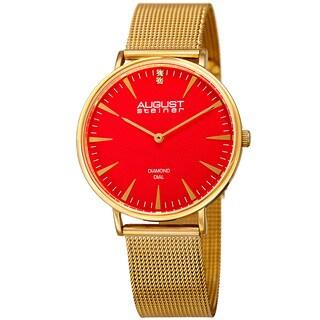 August Steiner Women's Quartz Diamond Stainless Steel Gold-Tone Bracelet Watch