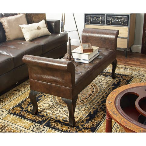 Traditional Brown Wood and Faux Leather Bench by Studio 350