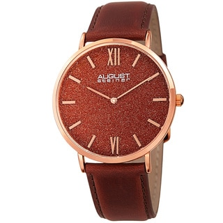 August Steiner Men's Quartz Easy-to-Read Rose-Tone Leather Strap Watch