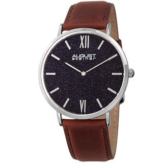 August Steiner Men's Quartz Easy-to-Read Silver-Tone Leather Strap Watch