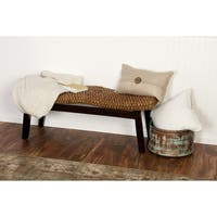 Traditional Saddled Teak Wood and Hyacinth Bench by Studio 351