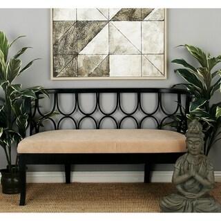 Wood Ivory Fabric Bench