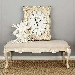 Distressed Antique Ivory Wood Fabric Bench