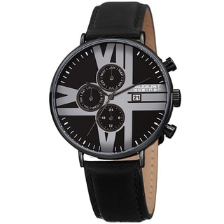 August Steiner Men's Swiss Quartz Multifunction Leather Black Strap Watch