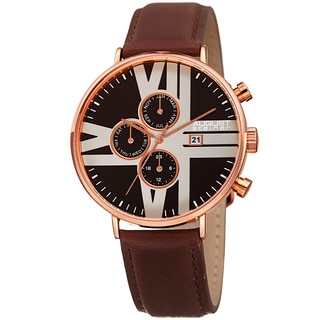 August Steiner Men's Swiss Quartz Multifunction Leather Rose-Tone Strap Watch