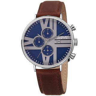 August Steiner Men's Swiss Quartz Multifunction Leather Silver-Tone Strap Watch