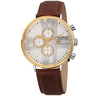August Steiner Men's Swiss Quartz Multifunction Leather Gold-Tone Strap Watch
