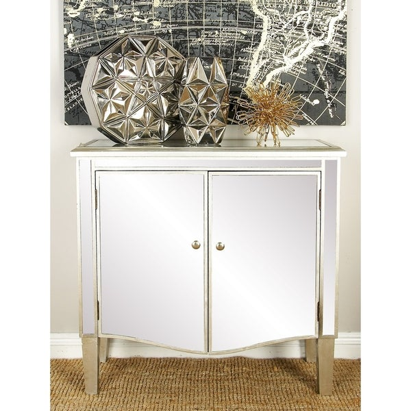 Shop Modern 32 X 34 Inch Wood And Mirror Two Door Cabinet