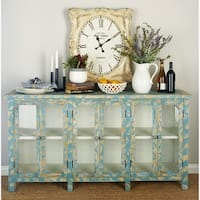 Wood Glass Console Cabinet (58 inches wide x 33 inches high)