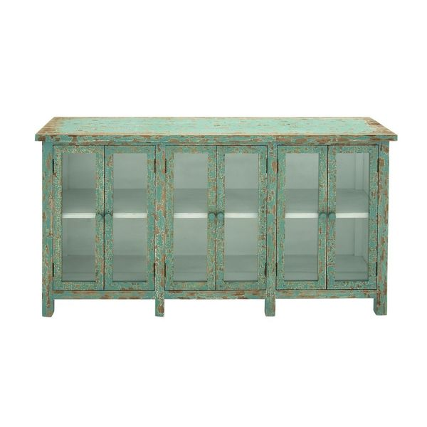 Wood Glass Console Cabinet 58 Inches Wide X 33