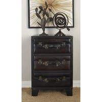 Wood Faux Leather Side Cabinet (19 inches wide x 28 inches high)