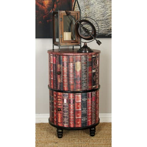 Traditional 29 Inch Round Book-Designed Wooden Cabinet by Studio 350