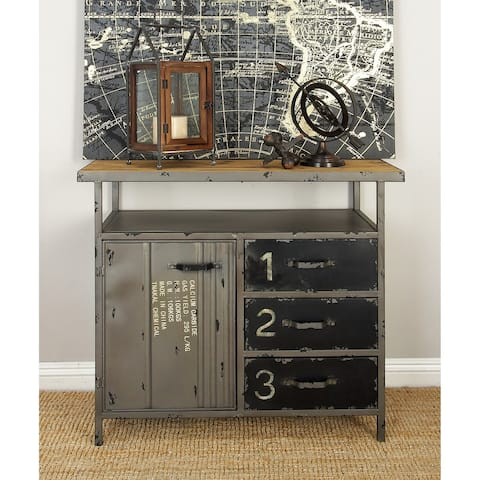 Industrial 32 Inch Wood and Metal Utility Cabinet by Studio 350