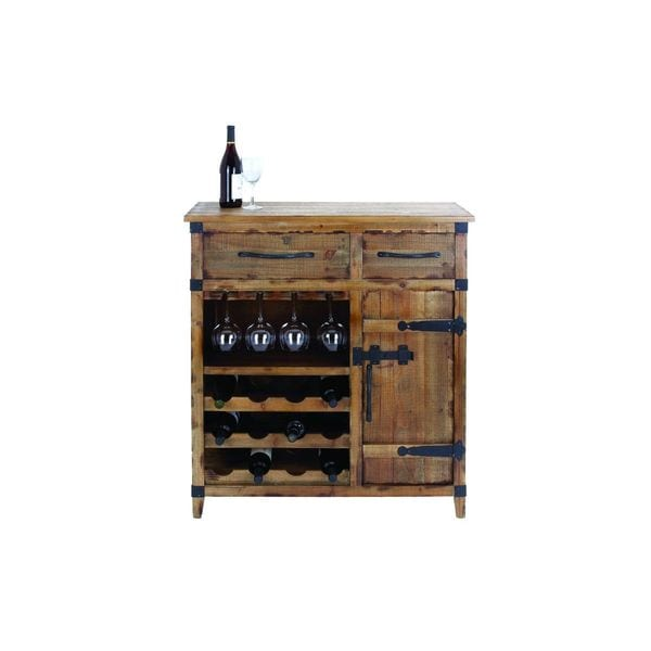 Wood Metal Wine Cabinet 42 Inches High X 37 Inches Wide