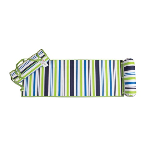 Outdoor Living Blue/ Green Stripes Rolled Beach Mat