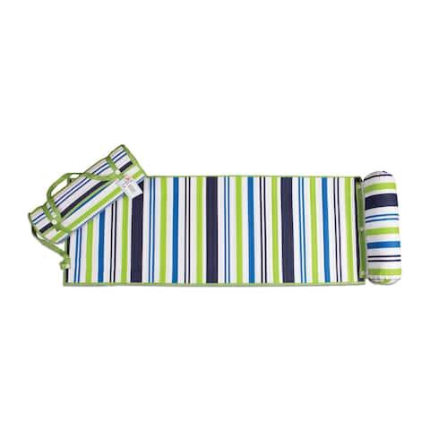Outdoor Living Blue/ Green Stripes Rolled Beach Mat - N/A