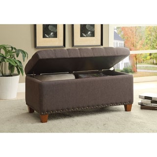 Tufted Storage Bench With Nailhead Trim