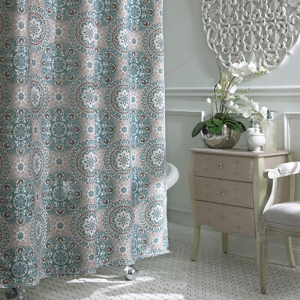 Excell Carthe Fabric Shower Curtain - 19061553 - Overstock.com ...