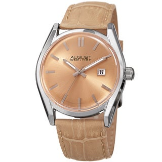 August Steiner Women's Quartz Easy-to-Read Beige Leather Strap Watch