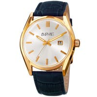 August Steiner Women's Quartz Easy-to-Read Blue Leather Strap Watch
