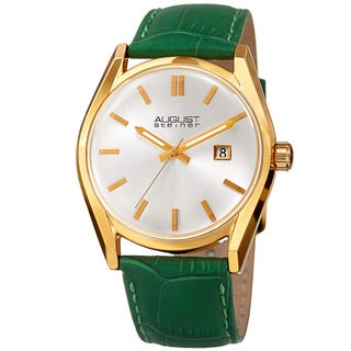 August Steiner Women's Quartz Easy-to-Read Green Leather Strap Watch