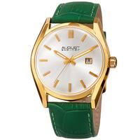 August Steiner Women's Quartz Easy-to-Read Green Leather Strap Watch