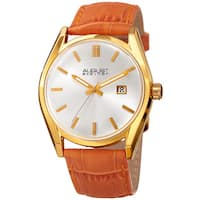 August Steiner Women's Quartz Easy-to-Read Orange Leather Strap Watch