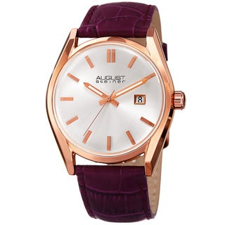 August Steiner Women's Quartz Easy-to-Read Purple Leather Strap Watch