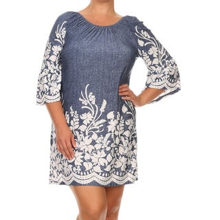 Women's Floral Border Plus-size Dress