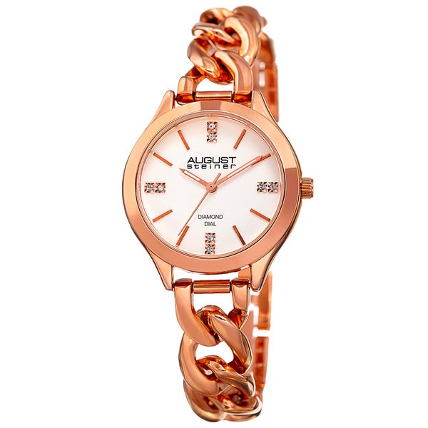 August Steiner Women's Quartz Diamond Rose-Tone Bracelet Watch with FREE GIFT