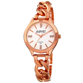 August Steiner Women's Quartz Diamond Rose-Tone Bracelet Watch