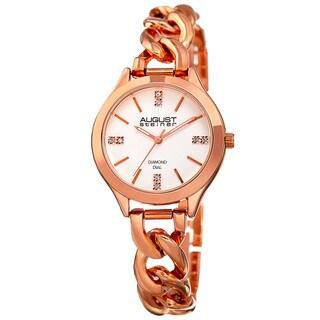 August Steiner Women's Quartz Diamond Rose-Tone Bracelet Watch