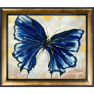 Susan Fischer 'Butterfly 3' Hand Painted Framed Canvas Art