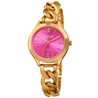 August Steiner Women's Quartz Diamond Gold-Tone Pink Bracelet Watch