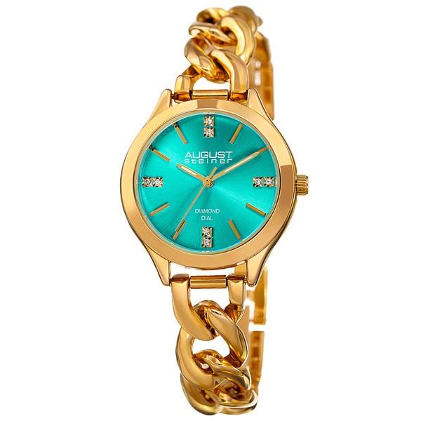 August Steiner Women's Quartz Diamond Gold-Tone Turquoise Bracelet Watch