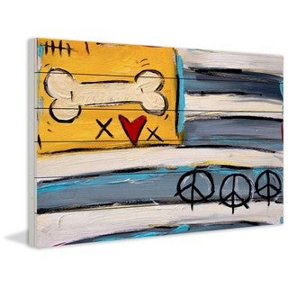 Marmont Hill 'Peace Bone Flag' by Tori Campisi Painting Print on White Pine Wood