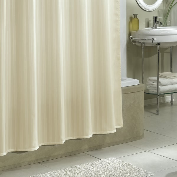 Excell Damask Stripe Fabric Shower Curtain Liner