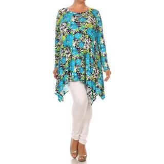 Plus Size Women's Rayon/Spandex Floral Tunic