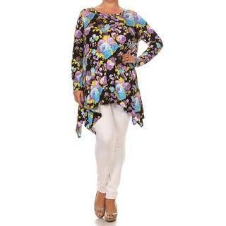 Women's Multicolor Rayon/Spandex Floral Plus Size Tunic
