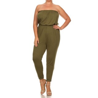 Women's Plus Size Strapless Jumpsuit Set