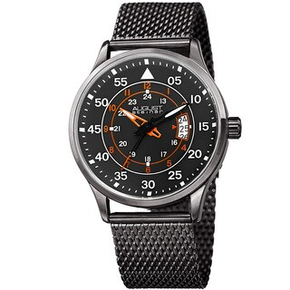 August Steiner Men's Quartz Easy-to-Read Stainless Steel Gray Bracelet Watch